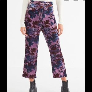 Urban Outfitters Purple Velvet Cropped Flare Pant